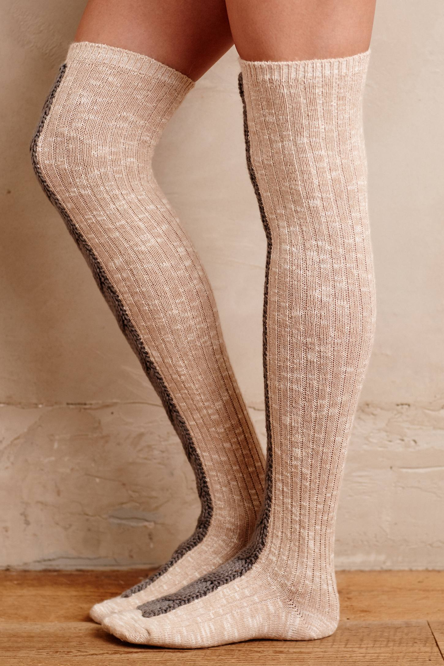 Cabled Over-The-Knee Socks by Lemon